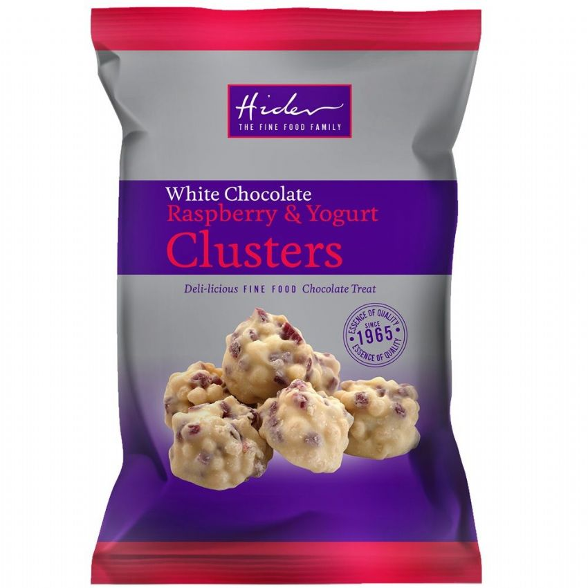 White Chocolate Raspberry & Yogurt Clusters - Hider Foods 95g
